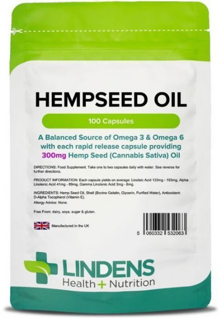 Hemp Seed Oil 300mg x 100/200 Capsules; Balanced Source of Omega-3 & 6; Lindens
